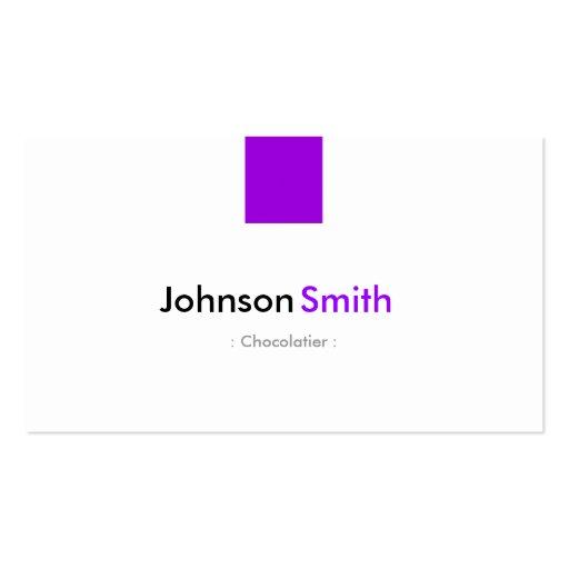 Chocolatier - violeta roxa simples modelo cartoes de visita