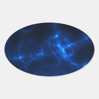 Choque eléctrico em azul escuro adesivo oval