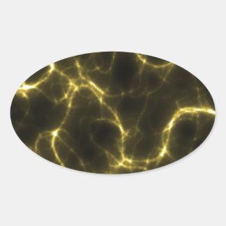 Choque eléctrico no amarelo adesivo oval