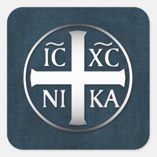 Christogram ICXC NIKA Jesus conquista Adesivo Quadrado