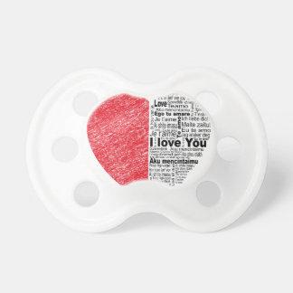 Chupeta amor, meia cor e coração do design de texto