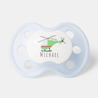 Chupeta Aviões personalizados e nome do helicóptero do