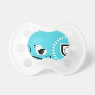 Chupeta Bebê azul Paci de Paisley com design do pássaro