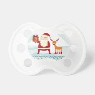 Chupeta Boas festas com Papai Noel e Rudolf