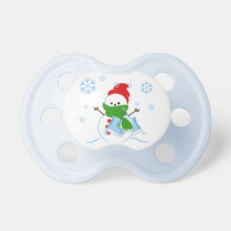 Chupeta Boneco de neve bonito com skates de gelo