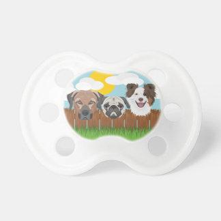 Chupeta Cães afortunados da ilustração em uma cerca de