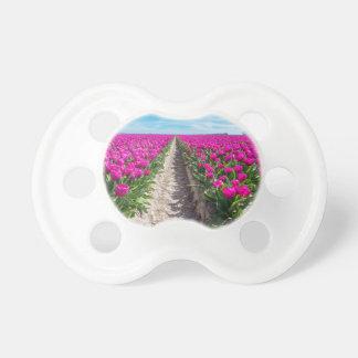 Chupeta Campo de flores com tulipas e o trajeto roxos