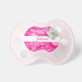 Chupeta Camuflagem cor-de-rosa, flor da faísca, bebé,