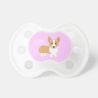 Chupeta Cão da menina do Corgi com arcos cor-de-rosa