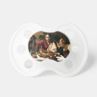 Chupeta Caravaggio - ceia em Emmaus - pintura clássica