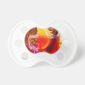 Chupeta Copo transparente do chá com citrino e canela