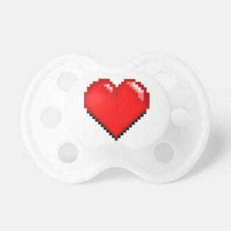 Chupeta Coração da vida do videogame - coração do pixel