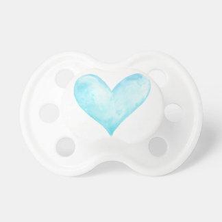 Chupeta Coração do azul da aguarela