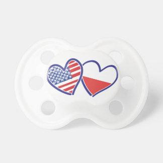 Chupeta Corações da bandeira do Polônia dos EUA