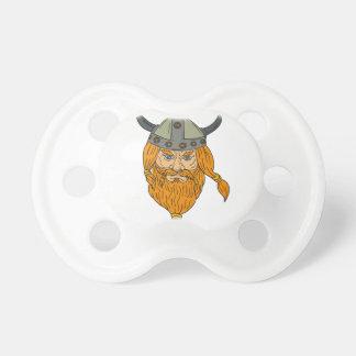 Chupeta Desenho da cabeça do guerreiro de Viking do