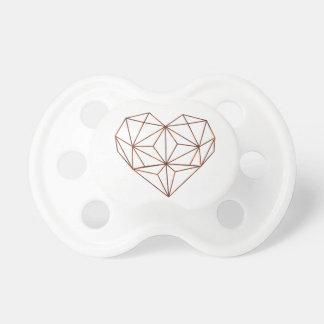 Chupeta design oxidação-geométrico do coração