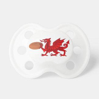 Chupeta Dragão de Galês com um Pacifier da bola de rugby