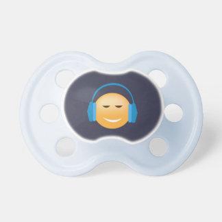 Chupeta Emoji com fones de ouvido