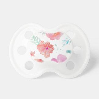 Chupeta Flores cor-de-rosa românticas da aguarela