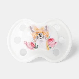 Chupeta Foxy feliz e rosas
