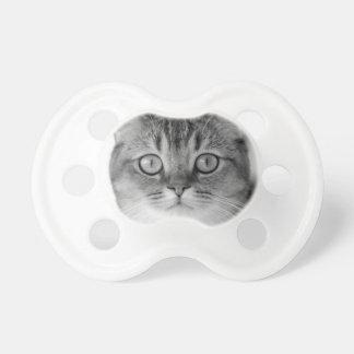 Chupeta Gato preto e branco que olha reto em você