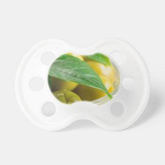 Chupeta Ideia macro das azeitonas com folhas verdes
