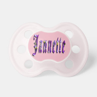 Chupeta Jannette, nome, logotipo, Pacifier cor-de-rosa dos