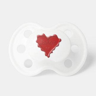 Chupeta Jason. Selo vermelho da cera do coração com Jason