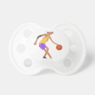 Chupeta Jogador de basquetebol na etiqueta vermelha da