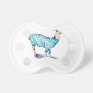 Chupeta Lama da aguarela na camisola azul