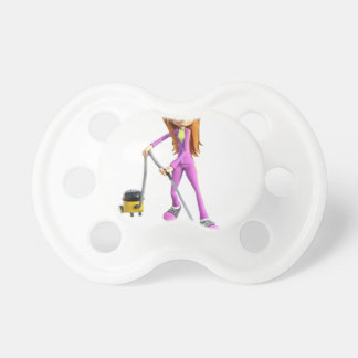 Chupeta Mulher dos desenhos animados que usa um vácuo