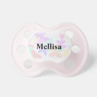 Chupeta Nome personalizado borboleta do bebê