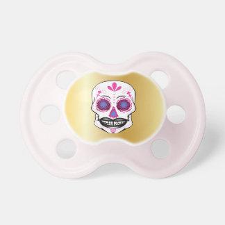 Chupeta Pacifier cor-de-rosa do crânio dos doces do ouro