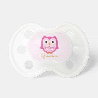 Chupeta Pacifier cor-de-rosa personalizado da coruja