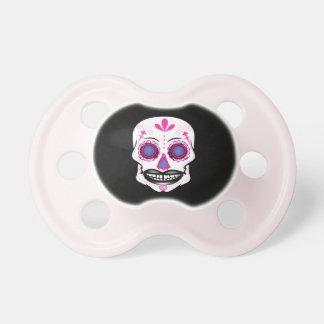 Chupeta Pacifier cor-de-rosa preto do crânio dos doces