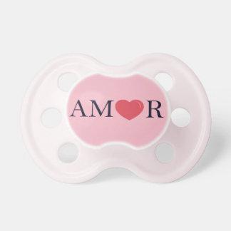 "Chupeta Pacifier de ""Amor"" da língua espanhola ""amor,"""