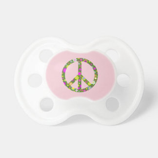 Chupeta Pacifier floral da criança do bebê do sinal de paz