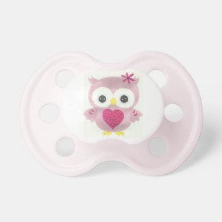Chupeta Pacifier gráfico do bebé da coruja cor-de-rosa