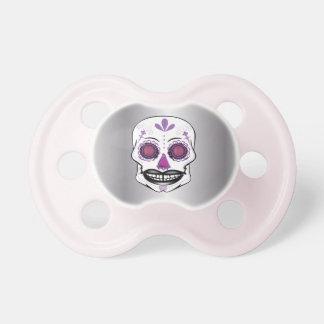 Chupeta Pacifier roxo de prata do crânio dos doces