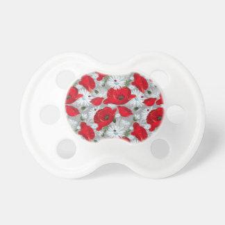 Chupeta Papoila vermelha bonita, margaridas brancas e