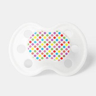 Chupeta Teste padrão de bolinhas colorido do arco-íris