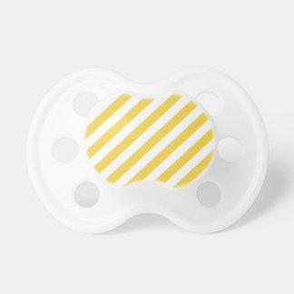 Chupeta Teste padrão diagonal amarelo e branco das listras