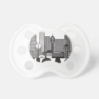 Chupeta Texto da skyline da cidade de Chicago preto e