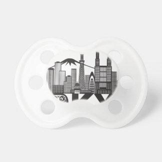 Chupeta Texto da skyline da cidade de Tokyo preto e branco