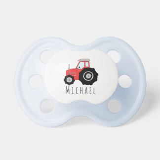Chupeta Trator de fazenda vermelho personalizado do bebé
