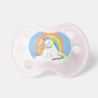 Chupeta Unicórnio do arco-íris em uma nuvem personalizada