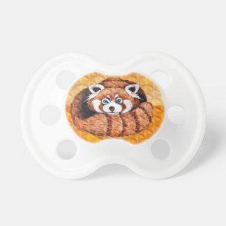 Chupeta Urso de panda vermelha no Cubism alaranjado