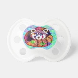 Chupeta Urso de panda vermelha no cubism de turquesa