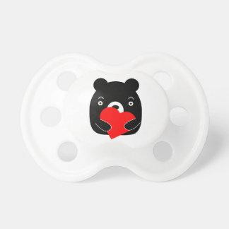 Chupeta Urso preto que guardara um coração