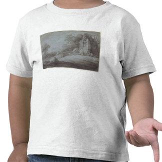 Churchyard com a figura que contempla a lápide (e camisetas